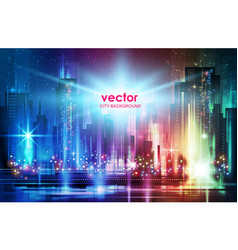 city town night panorama background vector image