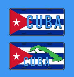cuba car number plate vehicle registration plates vector image