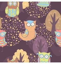 Cute cartoon owls fantasy coloful pattern vector image vector image
