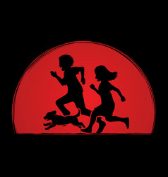 little boy and girl running together with dog vector image