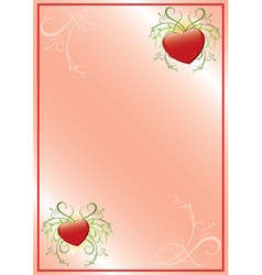 romantic pink frame with hearts vector image vector image