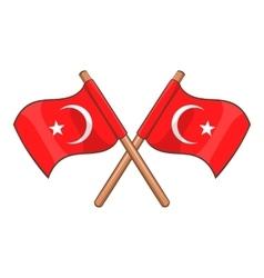 Turkey crossed flags icon cartoon style vector image vector image