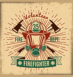 vintage firefighting label vector image