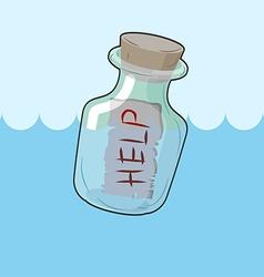 Bottle with message Help Transparent glass vessel vector image