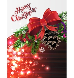 Christmas tree branches with cone vector image