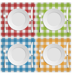 Empty plate with fork and knife at classic vector image