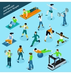Fitness Aerobic Isometric People Icon Set vector image