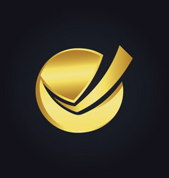 Round check list business gold logo vector