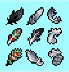 set of feathers in pixel style vector image