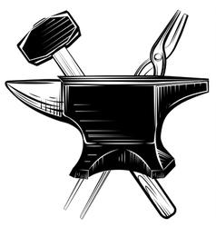 Blacksmith anvil on white background vector image
