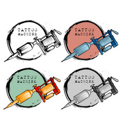collection of different style tattoo machine vector image vector image