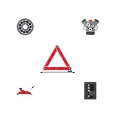 Flat service set of lifting warning brake disk vector
