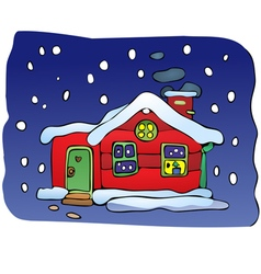 House in Christmas night vector image