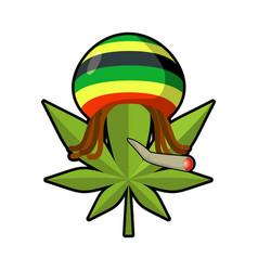 leaf marijuana and reggae cap with dreadlocks vector image