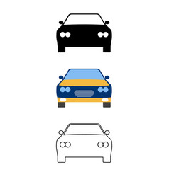 set of flat car icon cartoon outline silhouette vector image vector image