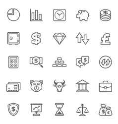 Set of Outline stroke Finance and Stock icon vector image vector image