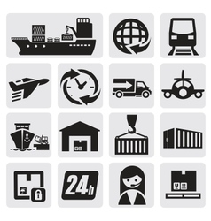 shipping and cargo icons vector image vector image
