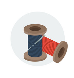 spools of sewing thread with needle vector image vector image