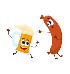 funny beer mug and frankfurter sausage characters vector image vector image