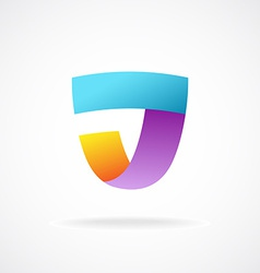 J letter logo template Shield shape sign vector image