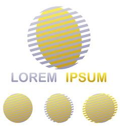 Silver and golden striped circle logo design set vector