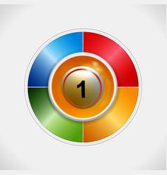 3d bingo ball over four colours disc vector