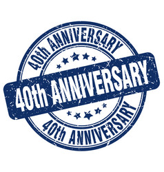 40th anniversary blue grunge stamp vector image