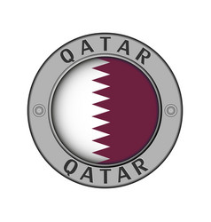 A medallion with name country qatar vector