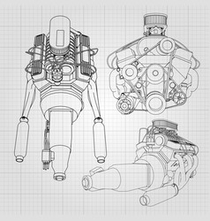 A set of several types of powerful car engine the vector