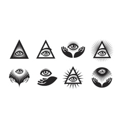 All Seeing Eye icons set Illuminati symbol vector image