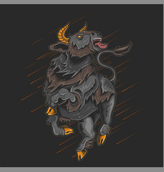 angry bull long horn rampage vector image