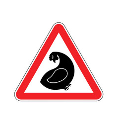 attention hen dangers of red road sign chicken vector image