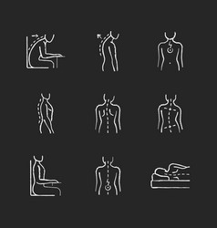 Back and posture problems chalk white icons set vector