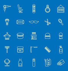 Barber line color icons on blue background vector