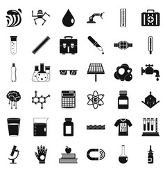 Biology icons set simple style vector