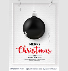 black christmas ball and text on light background vector image
