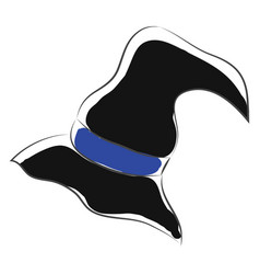 Black pointy witch hat color on white background vector