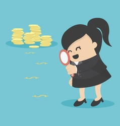 Business woman looking on dollar through vector