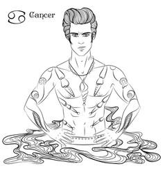 Cancer line art vector