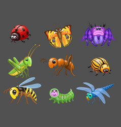 cartoon funny bugs caterpillar and butterfly vector image