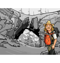 cartoon man tourist with a backpack and a hat vector image