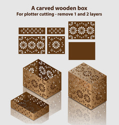 Carved wooden box for plotter cutting - remove 1 vector