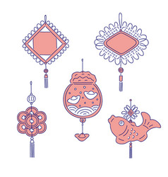 Chinese new year traditional money talismans vector
