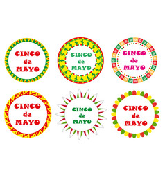 cinco de mayo set round frames with space vector image