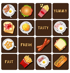collection of food and snack vector image