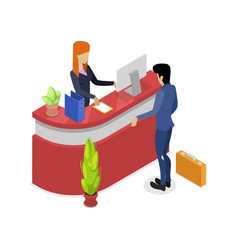 Company reception stand isometric 3d icon vector