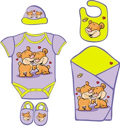 Cute Baby Layette with cute bear in love - vector