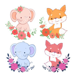 cute cartoon set elephant and fox with flowers vector image
