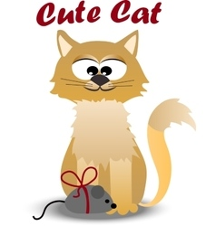 Cute cat with mouse vector