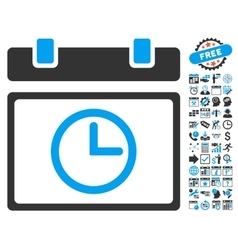 Date Time Flat Icon With Bonus vector